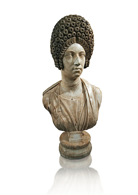 Roman marble sculpture bust of an unkown women, Late Trajan period 110-117 AD , inv 6074 Farnese Collection, Naples Museum of Archaeology, Italy