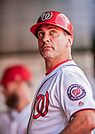 26 September 2018: Washington Nationals First Base Coach Tim Bogar looks up from the dugout prior to a game against the Miami Marlins at Nationals Park in Washington, DC. The Nationals defeated the visiting Marlins 9-3, closing out Washington's 2018 home season. Mandatory Credit: Ed Wolfstein Photo *** RAW (NEF) Image File Available ***