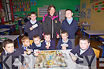 A cheque for EUR160 was presented to the Cahersiveen Hospice on Tuesday from the students of Naoimh Mhuire Boys N.S Cahersiveen, the money was raised by playing board games with the Hasbro Board Game Co sponsoring the event, pictured front l-r; John Anthony McCarthy, Blake Jackson, Darren Kelly, Ryan Sugrue, Luke Scanlon, Garry Sweeney, back l-r; Pierce McGill, Ann Bowler(Cahersiveen Hospice) & Michael Daly.