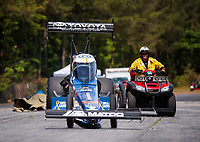 May 4, 2019; Commerce, GA, USA; NHRA top fuel driver Antron Brown is pushed off the track during qualifying for the Southern Nationals at Atlanta Dragway. Mandatory Credit: Mark J. Rebilas-USA TODAY Sports