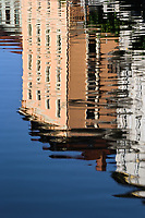 Abstract building reflection on Ljubljanica River, Ljubljana, Slovenia