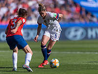 PARIS,  - JUNE 16: Carla Guerrero #3 defends Morgan Brian #6 during a game between Chile and USWNT at Parc des Princes on June 16, 2019 in Paris, France.