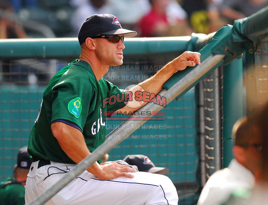 Manager Gabe Kapler watches the action from the dugout steps during a game between the Greenville Drive, Class A affiliate of the Boston Red Sox, and the Augusta GreenJackets on May 6, 2007, at West End Field in Greenville, S.C. (Tom Priddy/Four Seam Images)