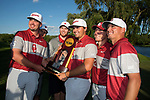 SUGAR GROVE, IL - MAY 31: The University of Oklahoma celebrates after winning the national title during the Division I Men's Golf Team Championship held at Rich Harvest Farms on May 31, 2017 in Sugar Grove, Illinois. (Photo by Jamie Schwaberow/NCAA Photos via Getty Images)