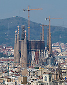 The Basilica de la Sagrada Família (Basilica and Expiatory Church of the Holy Family) looking south in Barcelona, Spain on October 20, 2013.<br /> Credit: Ron Sachs / CNP