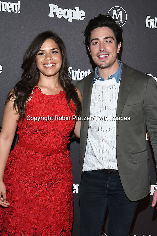 America Ferrera and Ben Feldman attend the Entertainment Weekly &amp; PEOPLE Magazine New York Upfronts Celebration on May 16, 2016 at Cedar Lake in New York, New York, USA.<br /> <br /> photo by Robin Platzer/Twin Images<br />  <br /> phone number 212-935-0770