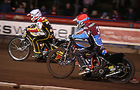Heat 3: Grzegorz Zengota (white) and Kauko Nieminen (red)  - Lakeside Hammers vs Swindon Robins, Elite League Speedway at the Arena Essex Raceway, Purfleet - 03/09/10 - MANDATORY CREDIT: Rob Newell/TGSPHOTO - Self billing applies where appropriate - 0845 094 6026 - contact@tgsphoto.co.uk - NO UNPAID USE.