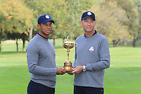 Tiger Woods with Captain Davis Love III at the USA Team photo shoot during Monday's Practice Day of the 39th Ryder Cup at Medinah Country Club, Chicago, Illinois 25th September 2012 (Photo Eoin Clarke/www.golffile.ie)