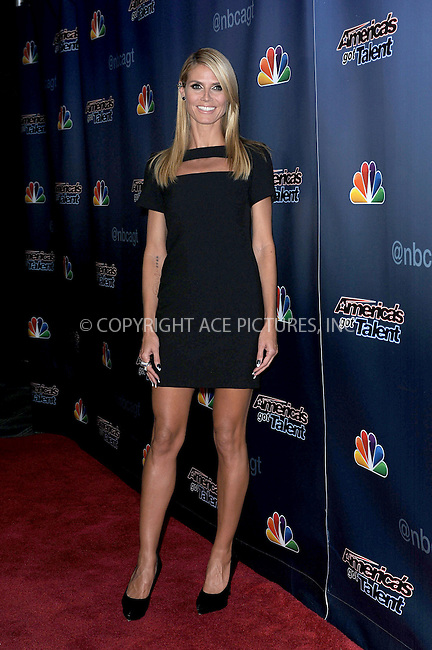 WWW.ACEPIXS.COM<br /> September 10, 2014 New York City<br /> <br /> Heidi Klum attending the 'America's Got Talent' post show red carpet at Radio City Music Hall in New York City on September 10, 2014.<br /> <br /> By Line: Kristin Callahan/ACE Pictures<br /> ACE Pictures, Inc.<br /> tel: 646 769 0430<br /> Email: info@acepixs.com<br /> www.acepixs.com<br /> Copyright:<br /> Kristin Callahan/ACE Pictures
