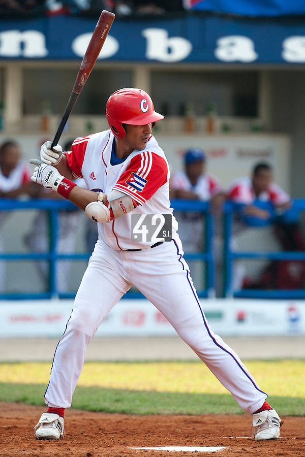 27 September 2009: Ariel Pestano of Cuba is seen at bat during the 2009 Baseball World Cup gold medal game won 10-5 by Team USA over Cuba, in Nettuno, Italy.