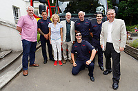 Pictured: First Minister for Wales Carwyn Jones (L) and Labour leader Jeremy Corbyn (C) pose for a picture with firefighters from nearby Ebbw Vale. Sunday 01 July 2018<br /> Re: Labour Party leader Jeremy Corbyn at the celebration for the 70 years since the National Health Service (NHS) was founded by Aneurin Bevan, Bedwellty Park, Tredegar, Wales, UK.