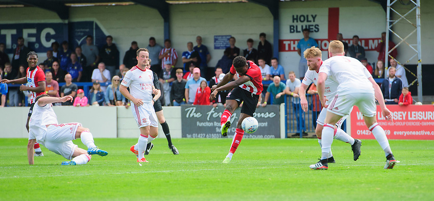 Lincoln City's Jordan Adebayo-Smith has a shot at goal from the edge of the area<br /> <br /> Photographer Chris Vaughan/CameraSport<br /> <br /> Football Pre-Season Friendly (Community Festival of Lincolnshire) - Lincoln City v Lincoln United - Saturday 6th July 2019 - The Martin & Co Arena - Gainsborough<br /> <br /> World Copyright © 2018 CameraSport. All rights reserved. 43 Linden Ave. Countesthorpe. Leicester. England. LE8 5PG - Tel: +44 (0) 116 277 4147 - admin@camerasport.com - www.camerasport.com