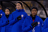 COLUMBUS, OH - NOVEMBER 07: Sam Mewis #5 and Imani Dorsey #30 of the United States stand on the sideline during a game between Sweden and USWNT at Mapfre Stadium on November 07, 2019 in Columbus, Ohio.