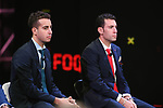 Italian National Champion Fabio Aru and Vincenzo Nibali (ITA) on stage at the Giro d'Italia 2018 Route Presentation held in the RAI TV Studios, Milan, Italy. 29th November 2017.<br /> Picture: LaPresse/Fabio Ferrari | Cyclefile<br /> <br /> <br /> All photos usage must carry mandatory copyright credit (&copy; Cyclefile | LaPresse/Fabio Ferrari)
