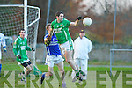 Colm Kerins Milltown Castlemaine controls the dropping ball under pressure from Jeremy O'Callaghan Laune Rangers during the Mid Kerry final in Beaufort on Saturday