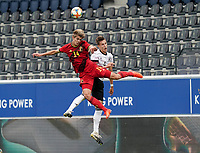 Belgium's Charles De Ketelelaere (14) and Germany's Nico Schlotterbeck (4) battle for the ball during a soccer game between the national teams Under21 Youth teams of Belgium and Germany on the 5th matday in group 9 for the qualification for the Under 21 EURO 2021 , on tuesday 8 th of September 2020  in Leuven , Belgium . PHOTO SPORTPIX.BE | SPP | SEVIL OKTEM