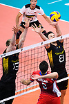 18.09.2019, Lotto Arena, Antwerpen<br />Volleyball, Europameisterschaft, Deutschland (GER) vs. Slowakei (SVK)<br /><br />Block / Doppelblock Simon Hirsch (#13 GER), Marcus Bšhme / Boehme (#8 GER) - Angriff Tomas Krisko (#2 SVK)<br /><br />  Foto © nordphoto / Kurth