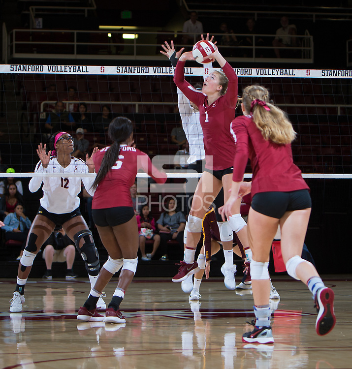 STANFORD, CA - September 9, 2018: Jenna Gray,Tami Alade, Meghan McClure at Maples Pavilion. The Stanford Cardinal defeated #1 ranked Minnesota 3-1 in the Big Ten / PAC-12 Challenge.
