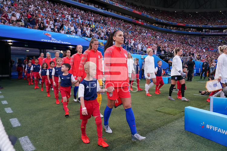 DECINES-CHARPIEU, FRANCE - JULY 02: Alex Morgan #13, USWNT during a 2019 FIFA Women's World Cup France Semi-Final match between England and the United States at Groupama Stadium on July 02, 2019 in Decines-Charpieu, France.