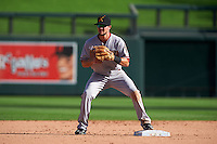 Salt River Rafters shortstop Jack Reinheimer (7) waits for a throw during an Arizona Fall League game against the Surprise Saguaros on October 20, 2015 at Salt River Fields at Talking Stick in Scottsdale, Arizona.  Surprise defeated Salt River 3-1.  (Mike Janes/Four Seam Images)