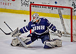 9 February 2019: University of New Hampshire Wildcat Goaltender Mike Robinson, a Sophomore from Bedford, NH, gives up a  third period goal to the University of Vermont Catamounts at Gutterson Fieldhouse in Burlington, Vermont. The Wildcats fell to the Catamounts 4-1 splitting their 2-game Hockey East weekend series. Mandatory Credit: Ed Wolfstein Photo *** RAW (NEF) Image File Available ***
