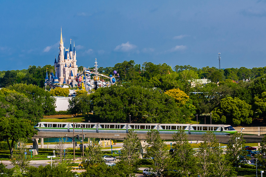 Monorail with Magic Kingdom behind, Walt Disney World, Orlando, Florida USA