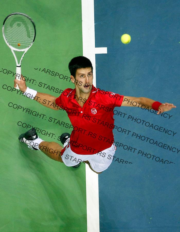 Tenis, Davis Cup 2010.Croatia Vs. Serbia, quaterfinals.Novak Djokovic Vs. Ivan Ljubicic.Novak Djokovic, serve.Split, 09.07.2010..foto: Srdjan Stevanovic/Starsportphoto ©