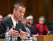 """Arne M. Sorenson, President and Chief Executive Officer, Marriott International, Inc. testifies before the United States Senate Committee on Homeland Security and Governmental Affairs Permanent Subcommittee on Investigations during a hearing on """"Examining Private Sector Data Breaches"""" on Capitol Hill in Washington, DC on Thursday, March 7, 2019.<br /> Credit: Ron Sachs / CNP"""