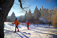 Goreme, Cappadocia, Nevsehir, Turkey, winter 2005. The Valleys of the Goreme National Park offer some very good snow shoeing. Many people who visit in the summer do not realize that temperatures in winter can go as low as minus 25 celcius, with a meter of snow on the ground.Photo by Frits Meyst / MeystPhoto.com