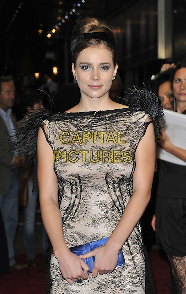 Gabriela Marcinkova .'360' opening gala premiere, 55th BFI London Film Festival, Odeon cinema, Leicester Square, London, England..October 12th 2011.half length black dress grey gray lace sleeveless blue clutch bag.CAP/CAN.©Can Nguyen/Capital Pictures.
