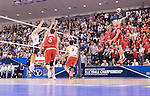 07 MAY 2016: Nick Laffin (23) of Ohio State University goes for a kill against Brigham Young University during the Division I Men's Volleyball Championship is held at Rec Hall on the Penn State University campus in University Park, PA.  Ohio State defeated BYU 3-1 for the national title.  Ben Solomon/NCAA Photos