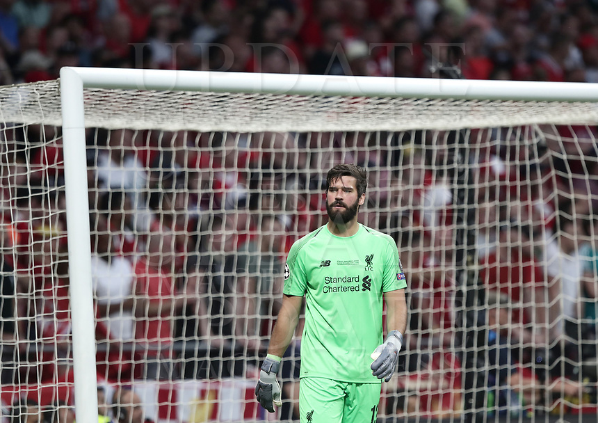 Liverpool's goalkeeper Alisson Becker looks on during the UEFA Champions League final football match between Tottenham Hotspur and Liverpool at Madrid's Wanda Metropolitano Stadium, Spain, June 1, 2019. Liverpool won 2-0.<br /> UPDATE IMAGES PRESS/Isabella Bonotto