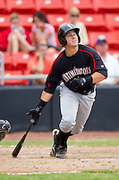 Kevin Dubler #35 of the Kannapolis Intimidators follows through on his swing against the Hickory Crawdads at  L.P. Frans Stadium August 1, 2010, in Hickory, North Carolina.  Photo by Brian Westerholt / Four Seam Images