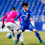 Ulsan Hyundai Defender Kim Changsoo (R) in action during their AFC Champions League 2017 Playoff Stage match between Ulsan Hyundai FC (KOR) vs Kitchee SC (HKG) at the Ulsan Munsu Football Stadium on 07 February 2017 in Ulsan, South Korea. Photo by Chung Yan Man / Power Sport Images