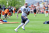 Wednesday, August 17, 2016: New England Patriots tight end Clay Harbor (81) tracks the ball at a joint training camp session between the Chicago Bears and the New England Patriots held at Gillette Stadium in Foxborough Massachusetts. Eric Canha/CSM