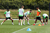 Pictured: (L-R) Yan Dhanda, George Byers, Cian Harries, Wayne Routledge and Kyle Naughton of Swansea City during the Swansea City FC training session at the Fairwood training ground in Swansea, Wales, UK Saturday 29 June 2019Saturday 29 June 2019<br /> Re: Swansea City FC training, Fairwood, near Swansea, Wales, UK