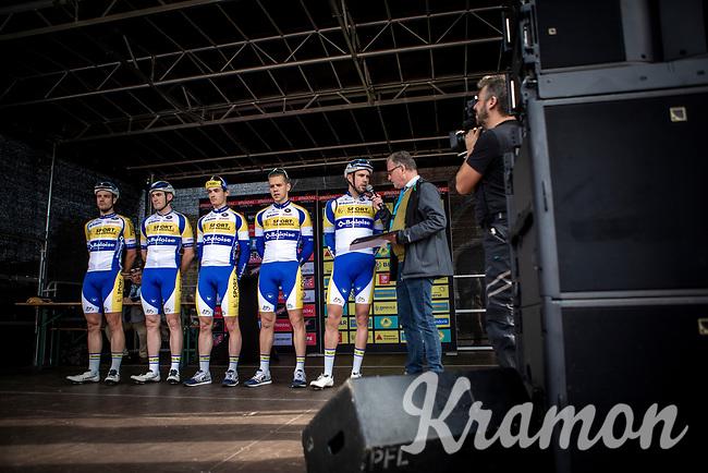 Team Sport Vlaanderen Baloise at the pre race team presentation. <br /> <br /> 23th Memorial Rik Van Steenbergen 2019<br /> One Day Race: Beerse > Arendonk 208km (UCI 1.1)<br /> ©kramon