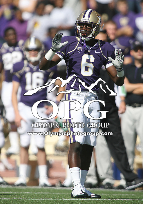 Sept 18, 20010:  Washington cornerback #6 Desmond Trufant gets set on defense against Nebraska. Nebraska defeated Washington  56-21 at Husky Stadium in Seattle, Washington...