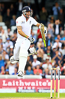 PICTURE BY ALEX WHITEHEAD/SWPIX.COM - Cricket - 2nd Investec Test Match - Day 3 - England vs South Africa - Headingley, Leeds, England - 04/08/12 - England's Kevin Pietersen celebrates his century.