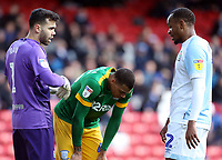 Blackburn Rovers' David Raya (left), Preston North End's Lukas Nmecha, and Blackburn Rovers' Ryan Nyambe (right) <br /> <br /> Photographer Rich Linley/CameraSport<br /> <br /> The EFL Sky Bet Championship - Blackburn Rovers v Preston North End - Saturday 9th March 2019 - Ewood Park - Blackburn<br /> <br /> World Copyright © 2019 CameraSport. All rights reserved. 43 Linden Ave. Countesthorpe. Leicester. England. LE8 5PG - Tel: +44 (0) 116 277 4147 - admin@camerasport.com - www.camerasport.com