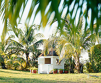 A white-painted weatherboard summer house is situated in the middle of a palm-fringed lawn
