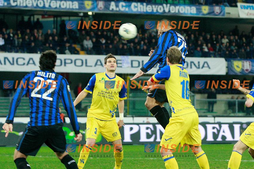"Gol di Walter Samuel Inter.Goal.Verona 09/03/2012 Stadio ""Bentegodi"".Football / Calcio Serie A 2011/12 Chievo vs Inter.Foto Insidefoto Paolo Nucci."