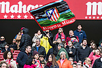 A little soccer fans waves the team flag of Atletico de Madrid to show his support prior to the La Liga 2017-18 match between Atletico de Madrid and UD Las Palmas at Wanda Metropolitano  on January 28 2018 in Madrid, Spain. Photo by Diego Souto / Power Sport Images