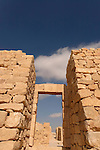 Israel, Northern Negev Mountain. Ruins of Shivta, built in the 1st century by the Nabateans. A world Heritage Site as part of the Spice Route