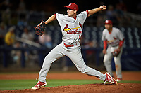 Palm Beach Cardinals relief pitcher Ross Vance (19) delivers a pitch during a game against the Charlotte Stone Crabs on April 11, 2017 at Charlotte Sports Park in Port Charlotte, Florida.  Palm Beach defeated Charlotte 12-6.  (Mike Janes/Four Seam Images)