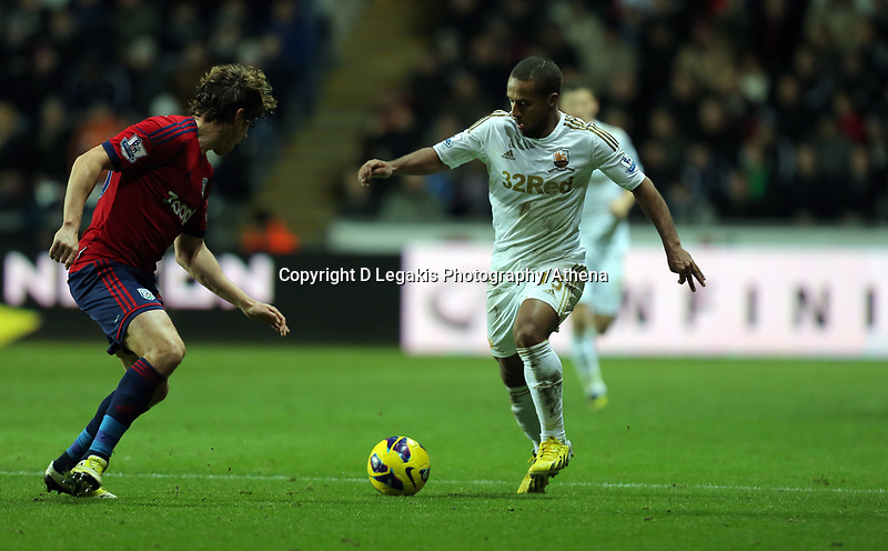 Sunday, 28 November 2012<br /> Pictured: Wayne Routledge.<br /> Re: Barclays Premier League, Swansea City FC v West Bromwich Albion at the Liberty Stadium, south Wales.