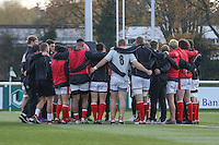 London Welsh huddle ahead of the Greene King IPA Championship match between Ealing Trailfinders and London Welsh RFC at Castle Bar , West Ealing , England  on 26 November 2016. Photo by David Horn / PRiME Media Images