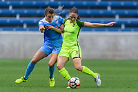 Bridgeview, IL - Wednesday August 16, 2017: Sofia Huerta, Kiersten Dallstream during a regular season National Women's Soccer League (NWSL) match between the Chicago Red Stars and the Seattle Reign FC at Toyota Park. The Seattle Reign FC won 2-1.