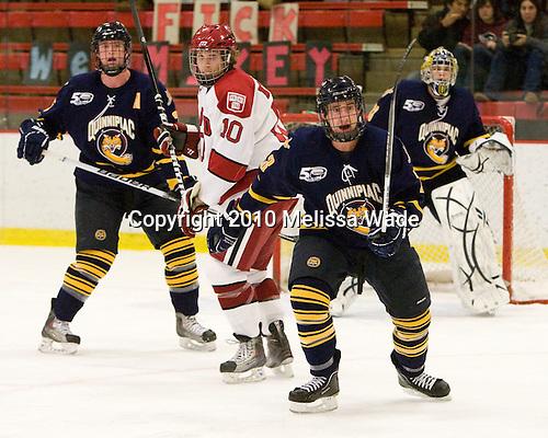 Eric Kroshus (Harvard - 10), Zack Currie (Quinnipiac - 23) - The visiting Quinnipiac University Bobcats defeated the Harvard University Crimson 3-1 on Wednesday, December 8, 2010, at Bright Hockey Center in Cambridge, Massachusetts.