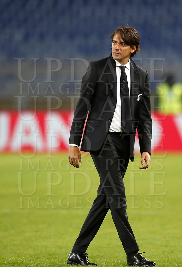 Calcio, Serie A: Roma, stadio Olimpico, 22 ottobre 2017.<br /> Lazio's coach Simone Inzaghi celebrates after winning 3-0 the Italian Serie A football match between Lazio and Cagliari at Rome's Olympic stadium, October 22, 2017.<br /> UPDATE IMAGES PRESS/Isabella Bonotto
